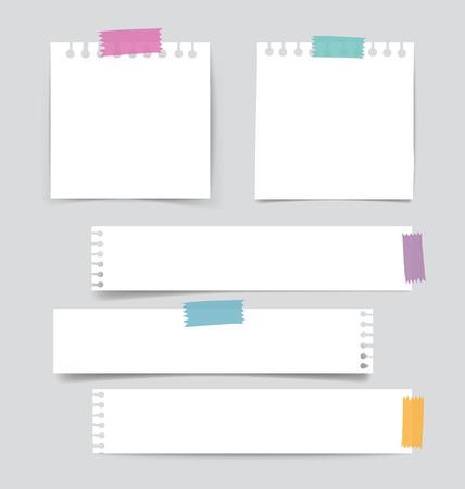 cintas: Colección de varios papeles de nota en blanco, listo para su mensaje. Ilustración del vector.