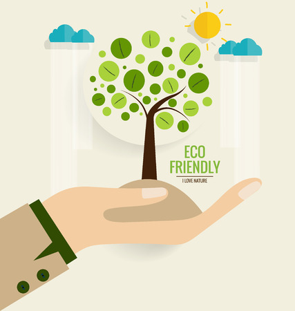 eco green: ECO FRIENDLY. Ecology concept with hand and tree background. Vector illustration.