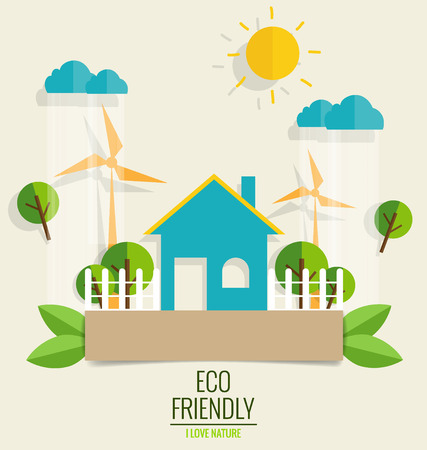 save earth: ECO FRIENDLY. Ecology concept with Green city and Trees. Vector illustration. Illustration