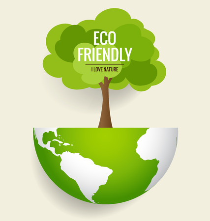 earth friendly: ECO FRIENDLY. Ecology concept with globe and tree background. Vector illustration.