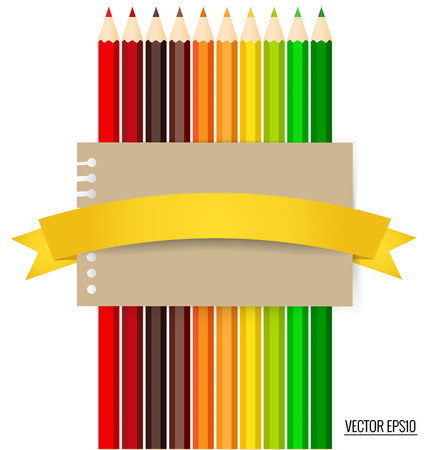 color pencils: Paper note with color pencils background, vector illustration.