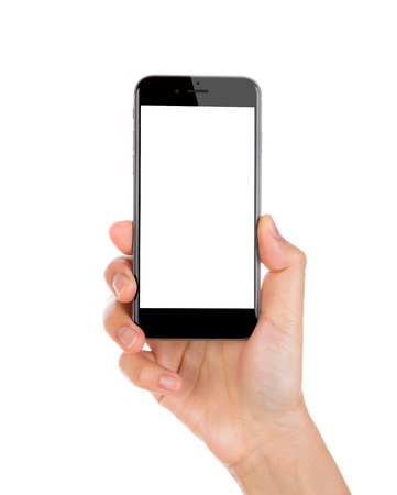 Hand holding mobile smart phone with blank screen Isolated on white background Standard-Bild