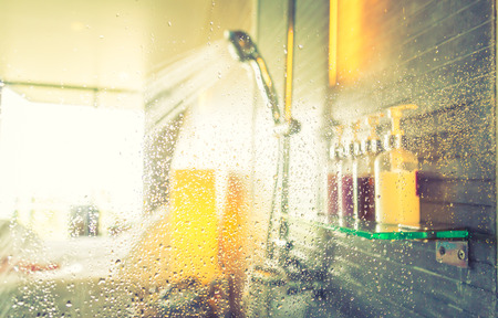 Shower while running water ( Filtered image processed vintage effect. )
