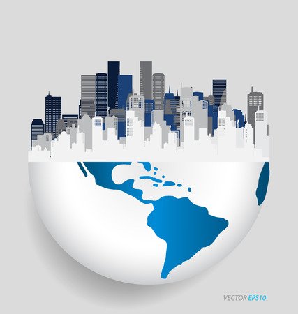 financial symbols: City with modern design globe. Vector illustration.