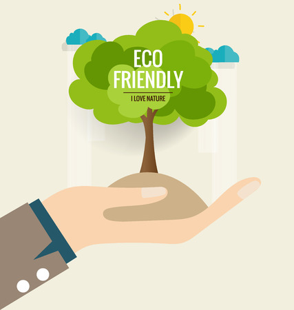 green banner: ECO FRIENDLY. Ecology concept with hand and tree background. Vector illustration.