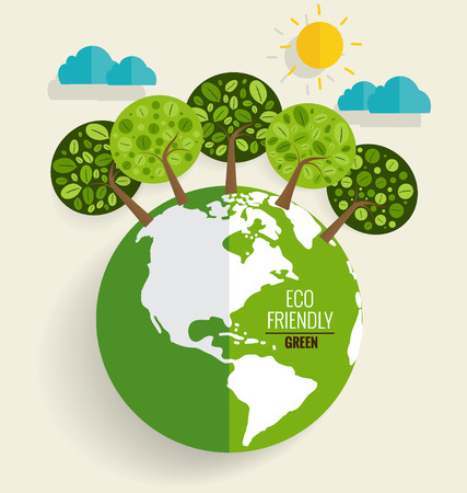 ECO FRIENDLY. Ecology concept with Green Eco Earth and Trees. Vector illustration. Иллюстрация