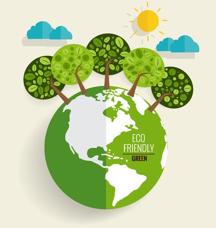 planete terre: ECOLOGIQUE. Ecology concept avec Green Eco terre et les arbres. Vector illustration.