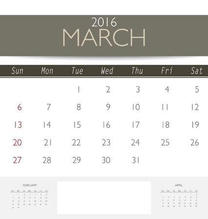 monthly calendar: 2016 calendar, monthly calendar template for March. Vector illustration. Illustration