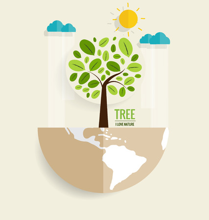 tree grass: ECO FRIENDLY. Ecology concept with Green Eco Earth and Trees. Vector illustration. Illustration