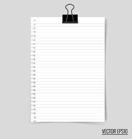 notebook paper: Collection of various white papers, ready for your message. Vector illustration.