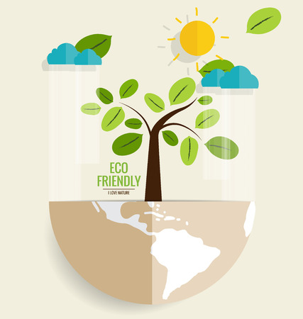ECO FRIENDLY. Ecology concept with Tree. Vector illustration.