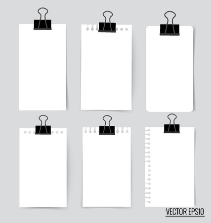 notice: Collection of various white note papers, ready for your message. Vector illustration. Illustration