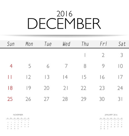 2016 calendar monthly calendar template for december vector