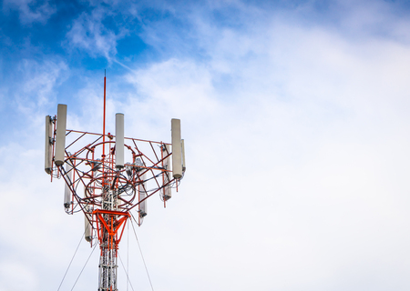 Telecommunication tower with beautiful sky Stock Photo