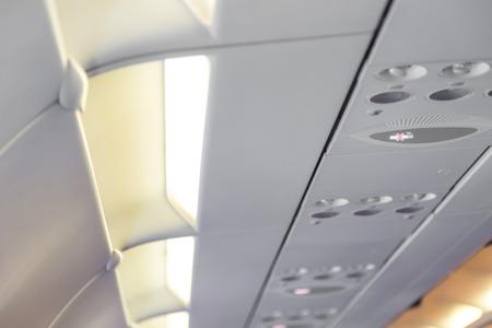 no smoking sign: No smoking sign  on the airplane Stock Photo