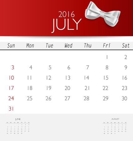 red ribbon week: 2016 calendar, monthly calendar template for July. Vector illustration.