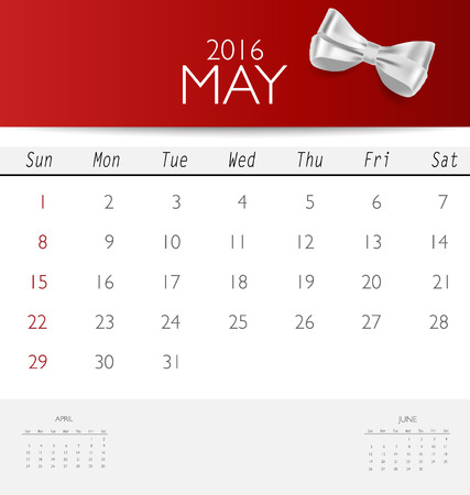 monthly calendar: 2016 calendar, monthly calendar template for May. Vector illustration.