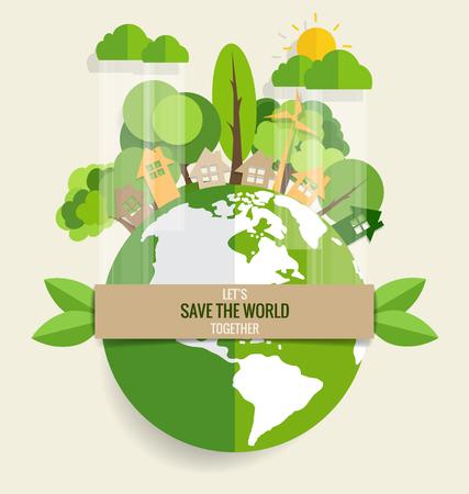 hojas de arbol: ECO FRIENDLY. Concepto de la ecolog�a con Green Eco Tierra y �rboles. Ilustraci�n del vector.