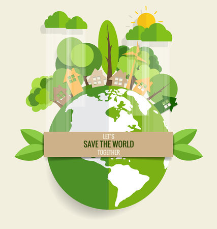 ECO FRIENDLY. Ecology concept with Green Eco Earth and Trees. Vector illustration. Ilustrace