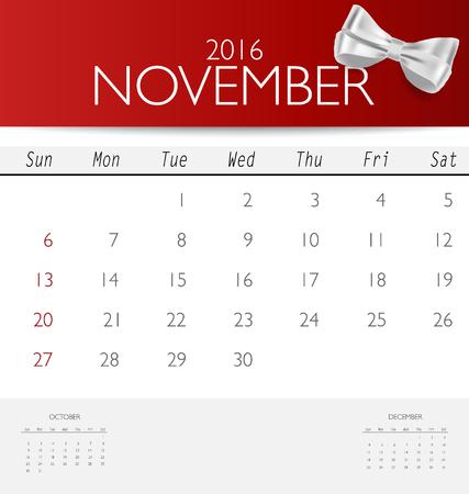 red ribbon week: 2016 calendar, monthly calendar template for November. Vector illustration.