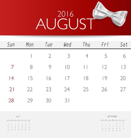 red ribbon week: 2016 calendar, monthly calendar template for August. Vector illustration.