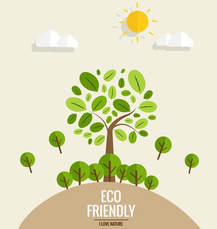 환경 친화적 인. 트리 배경과 생태 개념. 벡터 일러스트 레이 션. 일러스트