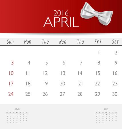 red ribbon week: 2016 calendar, monthly calendar template for April. Vector illustration.