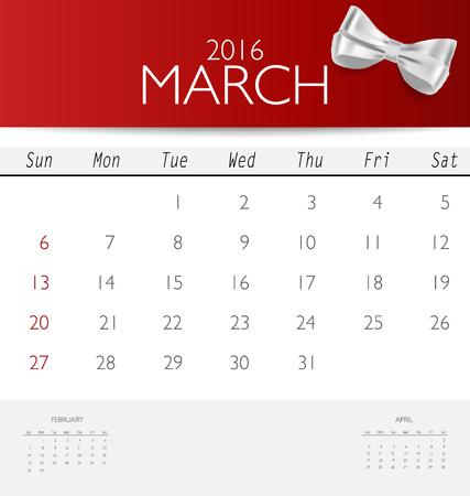 red ribbon week: 2016 calendar, monthly calendar template for March. Vector illustration. Illustration