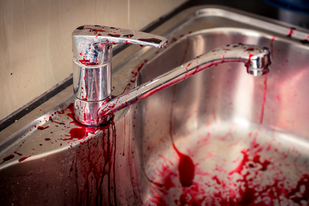 misdemeanor: Kitchen sink  with blood for halloween ( Filtered image processed vintage effect. )