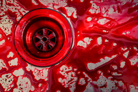 to sink: Kitchen sink  with blood for halloween