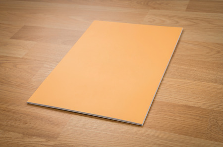 read magazine: Blank catalog, magazines,book mock up on wood background