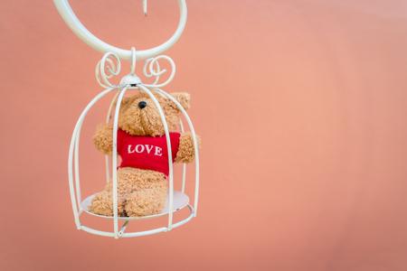 naivete: Bear doll in white bird cage