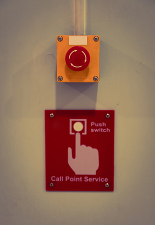 blank button: Call point service Button ( Filtered image processed vintage effect. )