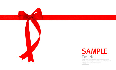shimmery: Shiny red ribbon on white background with copy space.