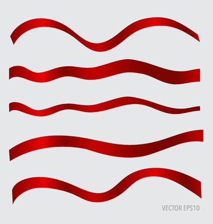 bright card: Shiny red ribbons, vector illustration. Illustration