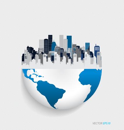 wereldbol: City met modern design hele wereld. Vector illustratie. Stock Illustratie