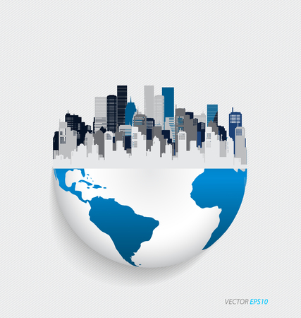 world market: City with modern design globe. Vector illustration.