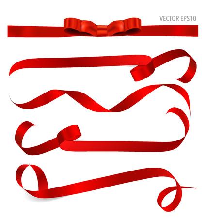 mo�os navide�os: Cinta roja brillante sobre fondo blanco con espacio de copia. Ilustraci�n del vector.
