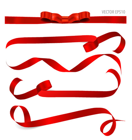 red and white: Shiny red ribbon on white background with copy space. Vector illustration.