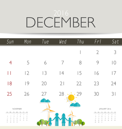 monthly calendar: 2016 calendar, monthly calendar template for December. Vector illustration.