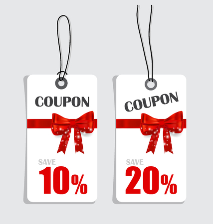 Gift coupons with gift bows and ribbons. Vector illustration.
