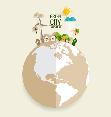 green eco: ECO FRIENDLY. Ecology concept with Green Eco Earth and Trees. Vector illustration. Illustration