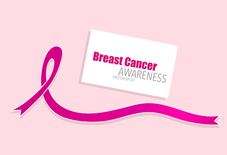 Breast cancer awareness pink ribbon. Vector Illustration. Ilustração