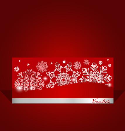 vacanza: Buoni vacanza regalo con fiocco di neve sfondo, illustrazione vettoriale. Vettoriali