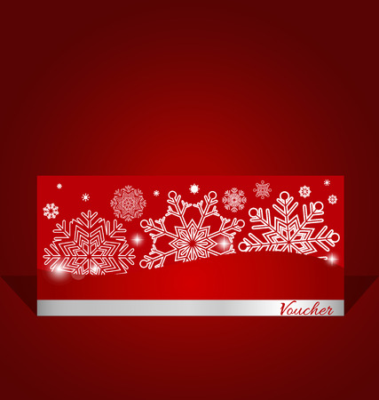 holidays: Holiday gift coupons with snowflake background, vector illustration.