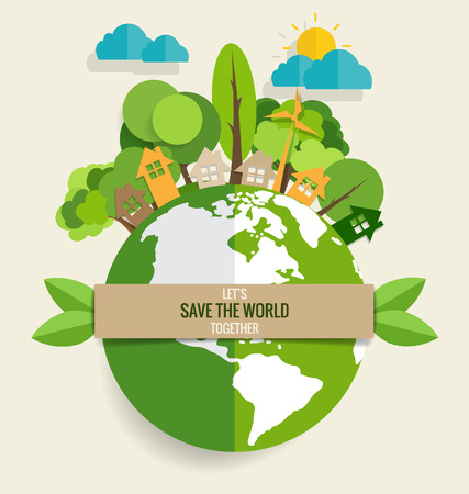 ECO FRIENDLY. Ecology concept with Green Eco Earth and Trees. Vector illustration. Çizim