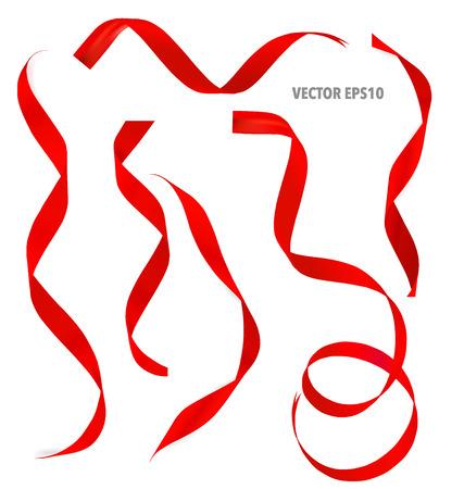 コピー スペースで白い背景に光沢のある赤いリボン。ベクトルの図。  イラスト・ベクター素材