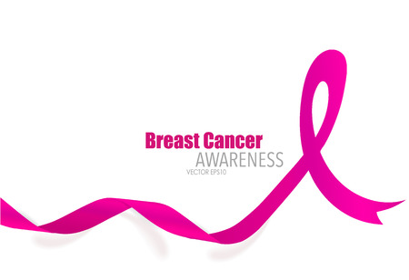 Breast cancer awareness pink ribbon. Vector Illustration. Vettoriali