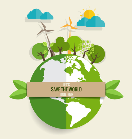 ECO FRIENDLY. Ecology concept with Green Eco Earth and Trees. Vector illustration. Illustration
