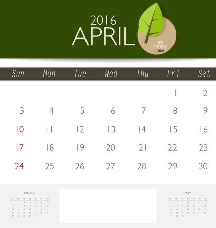 4월: 2016 달력, 4 월 월별 달력 템플릿입니다. 벡터 일러스트 레이 션.